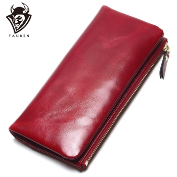 2019 New 100% Genuine Oil Leather Clutch Women Wallet Portable Multifunction Long Wallets Lady Coin Purses Card Holder
