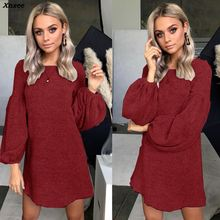Xnxee 2019 Women Lantern Long Sleeve Knitted Sweater Dress Elegant Autumn Winter Dress Casual O Neck Solid Mini Short Dresses zbaiyh maternity dress autumn winter cotton knitted oneck long sleeve sweater dress for pregnant women solid color elegant dress