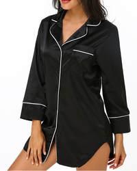 Женская пижама с длинным рукавом Sleepshirt Осень Повседневная Свободная ночная рубашка Turn-Down Воротник Ночная сорочка бебидолл Топы рубашка