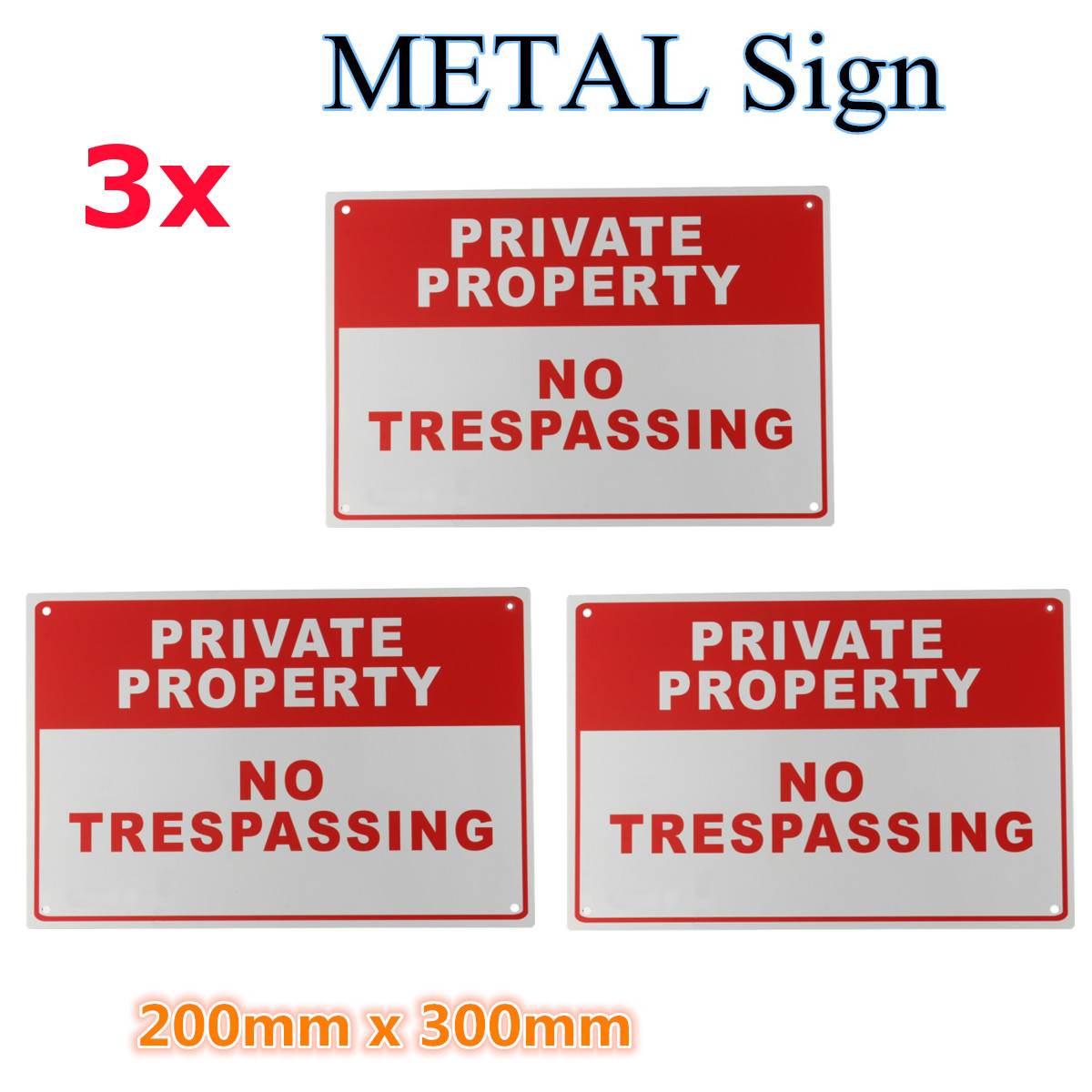3pcs Private Property No Trespassing Metal Safety Warning Sign 200x300mm Material3pcs Private Property No Trespassing Metal Safety Warning Sign 200x300mm Material