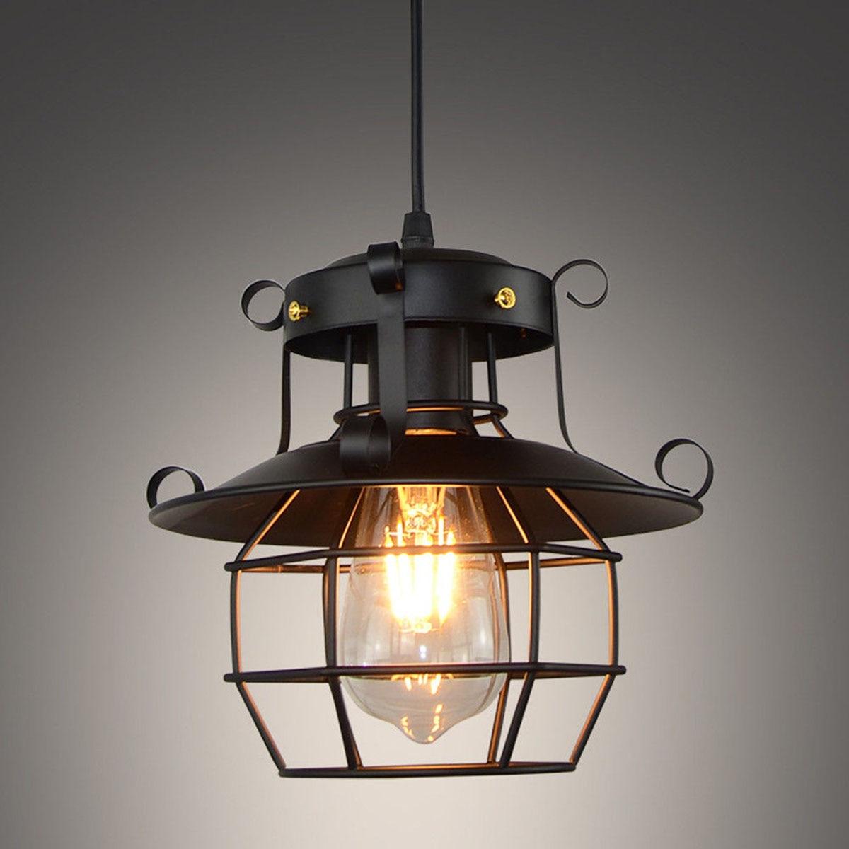Vintage light Metal Industrial Light Fixtures Cage Edison Nordic Retro Loft Lamp Home decor Pendant light