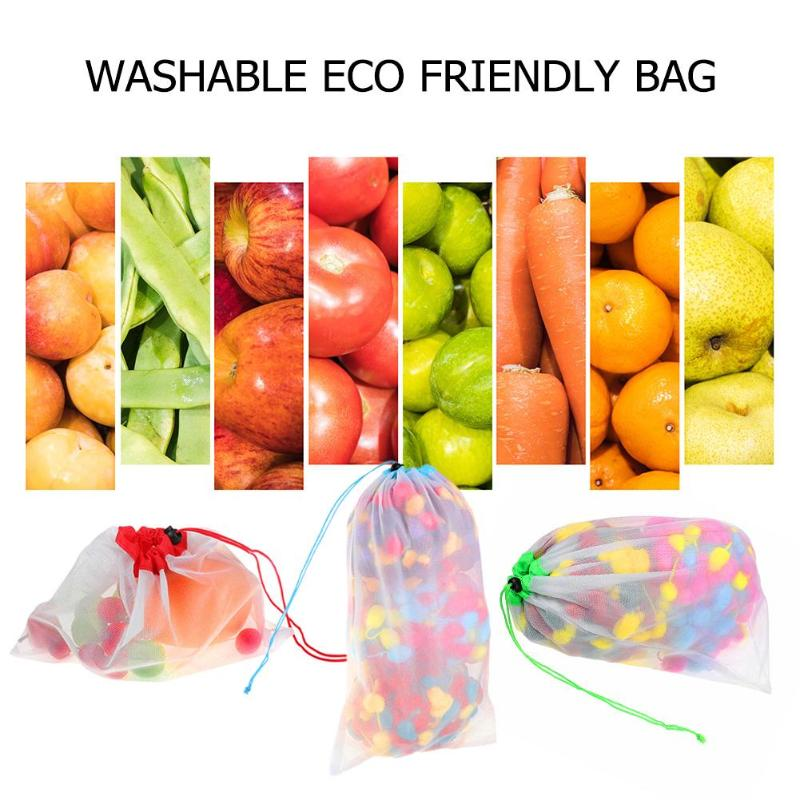 b1b71c3f0510 US $3.49 5pcs Reusable Produce Bags Mesh Ployester Vegetable Fruit ...