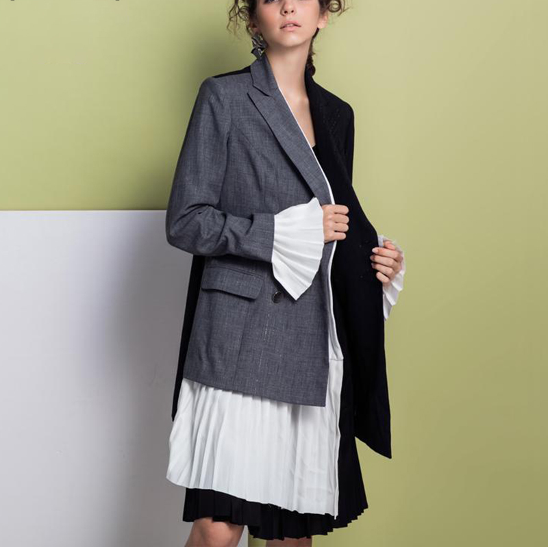 Mode Femmes Gray Qualité Haute Automne De Veste Black Coudre Irrégulière Plissée E002 Manchette 2018 Personnalité Nouveau Couleur Manteau Hit ZtUqCw