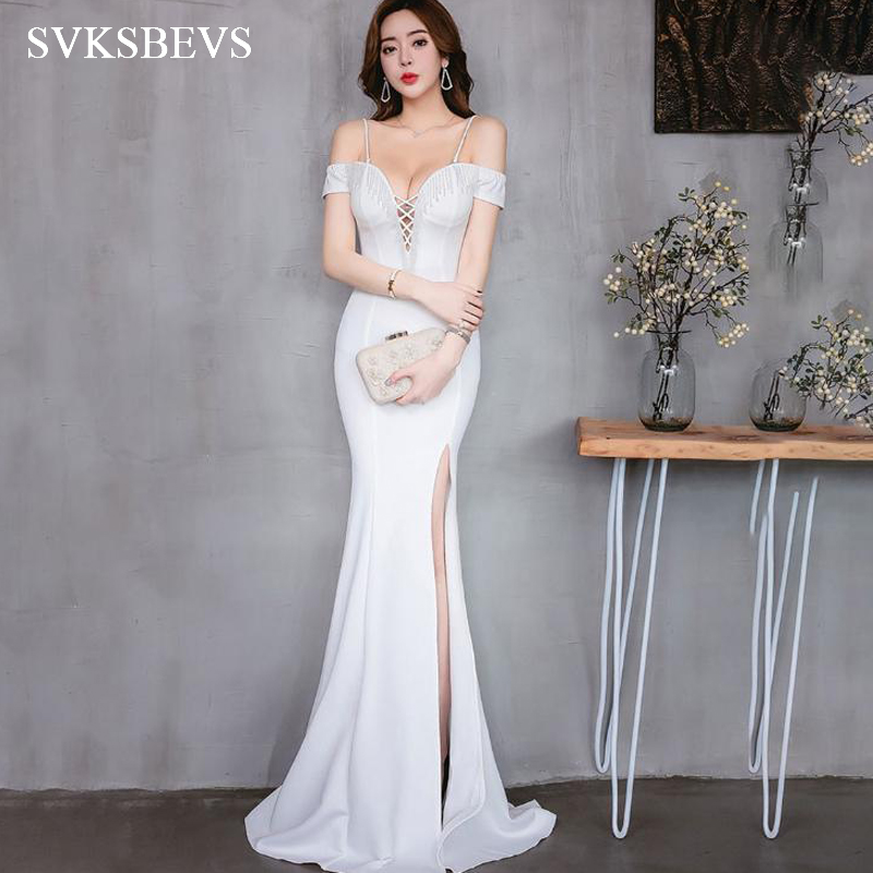 SVKSBEVS 2019 <font><b>Sexy</b></font> Bandage <font><b>Deep</b></font> <font><b>V</b></font> Neck Crystal Split Mermaid Long <font><b>Dresses</b></font> Party Spaghetti Strap Backless Maxi <font><b>Dress</b></font> image