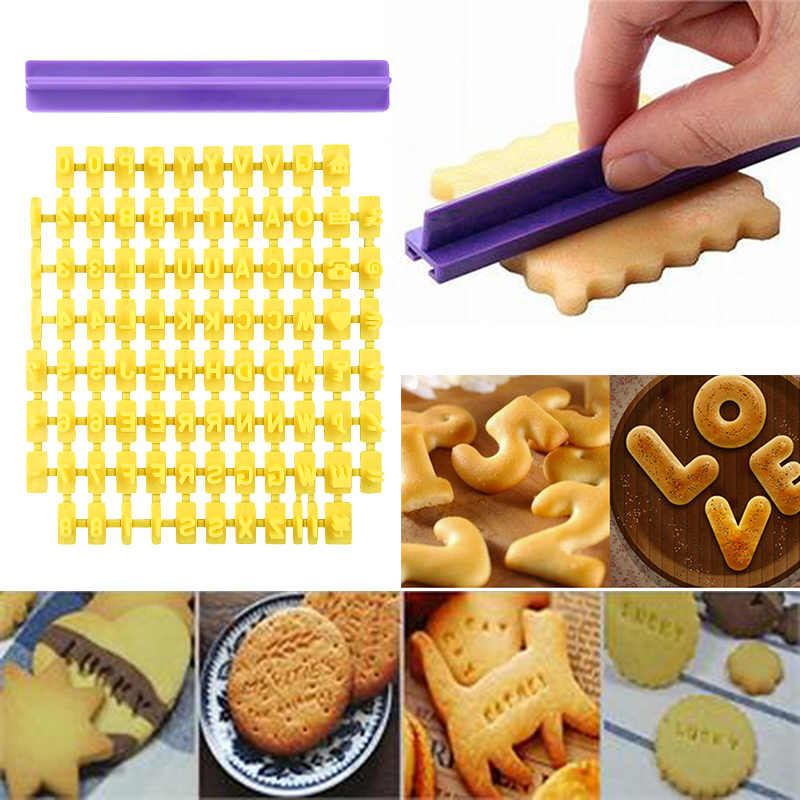 Alphabet Number Letter Baking Mould 3D Cookie Biscuit Stamp Embosser Cutter Cake Fondant DIY Molds Yellow Cutter Fondant Mould