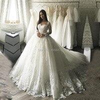 Long Sleeves Appliques Wedding Dresses 2019 Custom Made Ball Gown Plus Size Bridal Dress Bride Robe De Mariee Vestido De Novia