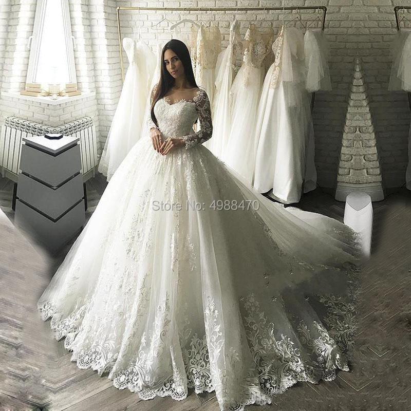 Manches longues Appliques robes De mariée 2019 Robe De bal sur mesure grande taille Robe De mariée Robe De mariée Robe De mariée Vestido De Novia
