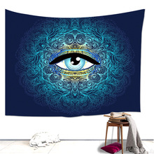 Loartee Blue Abstract Eye Tapestry Mandala Fashion Curly Lines Room Wall Hanging Decoration Curtain