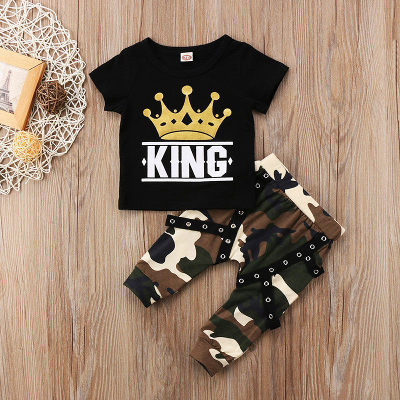 2pcs Toddler Infant Kids Baby Boys Clothes T-shirt Tops+Camo Pants Outfits Set