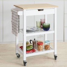 SoBuy FKW66, Kitchen Storage Serving Trolley Shelf with Rubber Wood Top 1 Drawer 2 Shelves