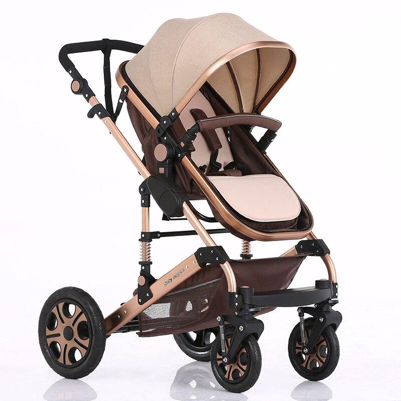 Kereta Bayi Mewah 2 dalam 1 Pram Bayi Lanskap Tinggi Untuk Sistem Perjalanan Bayi Baru Bayi Troli Walker Kereta Kereta bayi dilipat