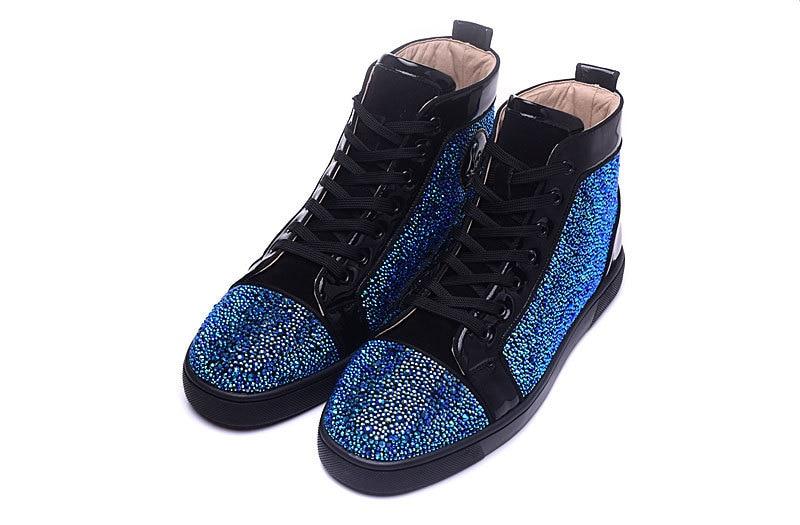 Glitter Para Flats Fundo Vermelho Homens Sapatos De Couro Azul Picture Casual Up Altos Sneakers Grife Handmade Genuíno Top Lace As axEq6vA