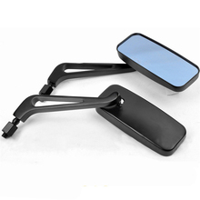 2pcs Universal Rectangle Motorcycle Rearview Mirrors Anti Glare Blue Glass for Bike Cruiser Softail Sportster aluminium alloy motorcycle anti glare rearview mirrors golden 2 piece