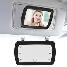 Car Sun Visor Mirror Makeup Sun-shading Cosmetic Mirror Vanity Mirror Automobile Make Up Mirror with Six LED Lights(China)