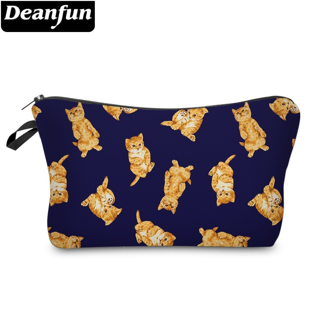 DeanfunYellow Cat Cosmetic Bag Waterproof Printing Stylish Make Up Bags Custom Style For Toiletry  51464