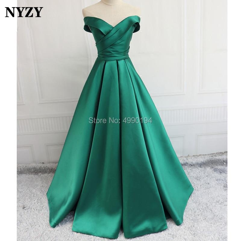 NYZY P34 Elegant Off Shoulder Green Satin Simple   Prom     Dress   Formal Party Gown Evening vestidos de festa longo 2019
