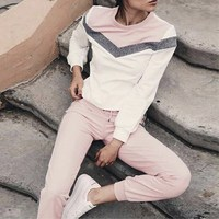 Women's Tracksuits Autumn Long Sleeve Pullover Sweatshirt Two Piece Set Pattern Type V Stitching Female Sporting Suit