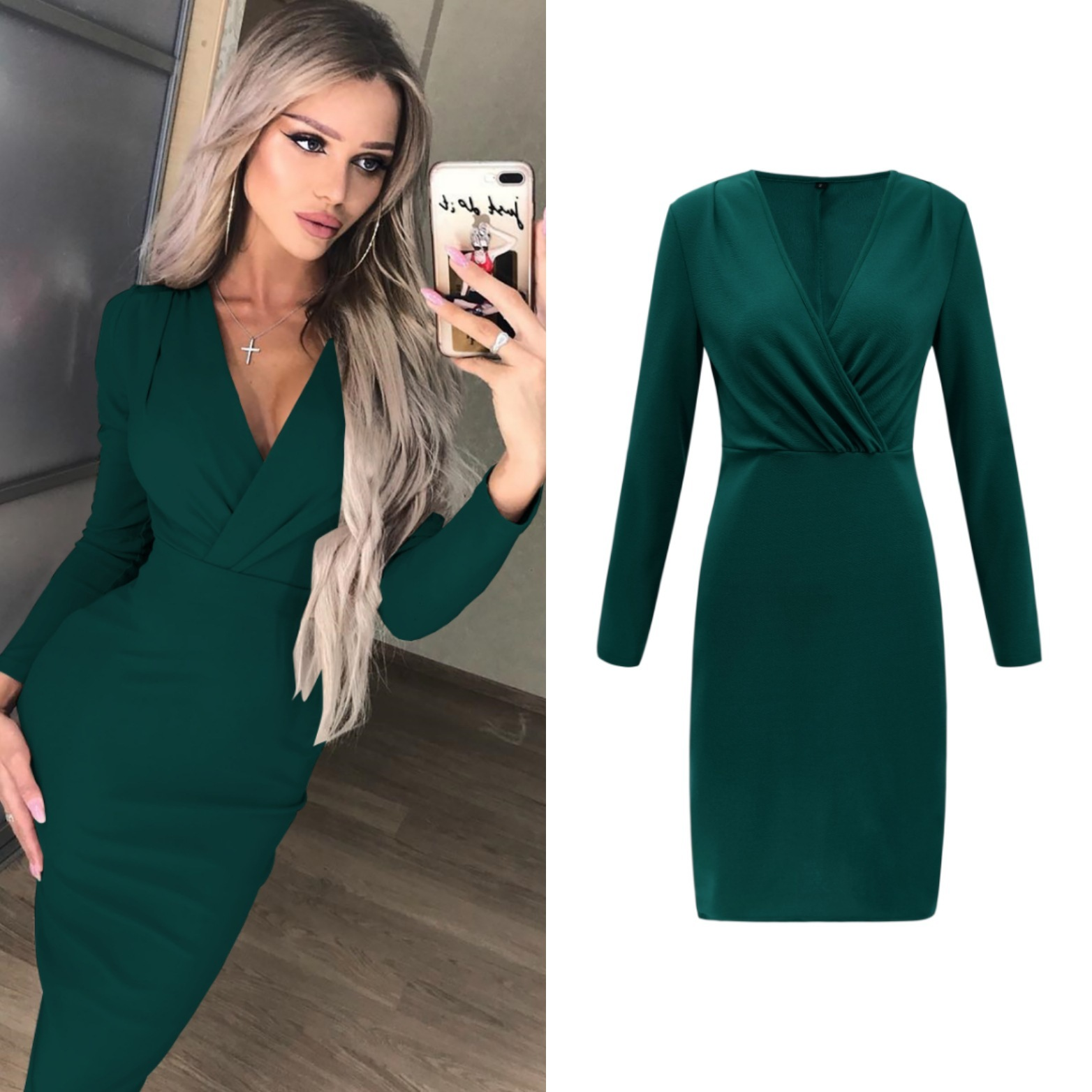 VITIANA Women Work Office Midi Dress Female 2019 Spring Long Sleeve V Neck Elegant Slim Bodycon Party Casual Dresses vestidos