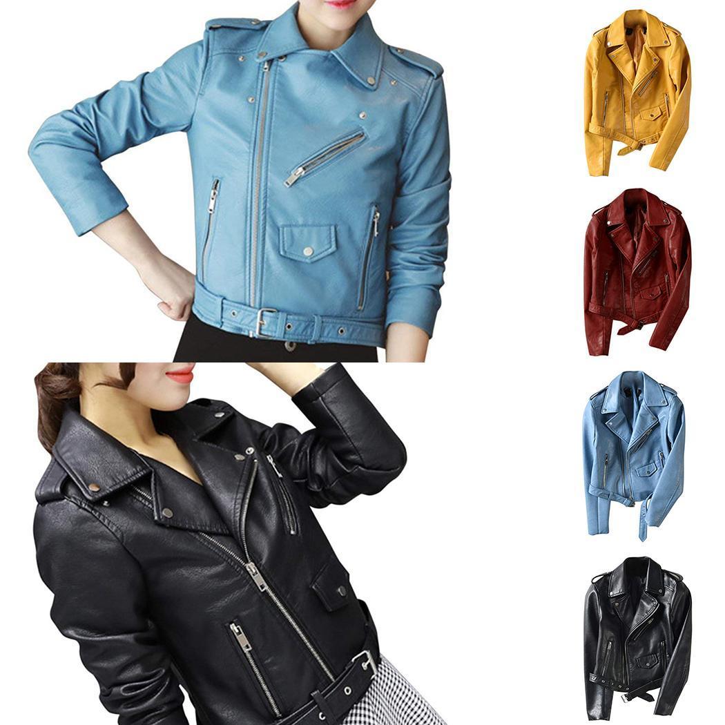 New Fashion Women Casual Artificial   Leather   Solid Button Buckle Belt Hem, Regular Fit Zipper Jacket Outwear