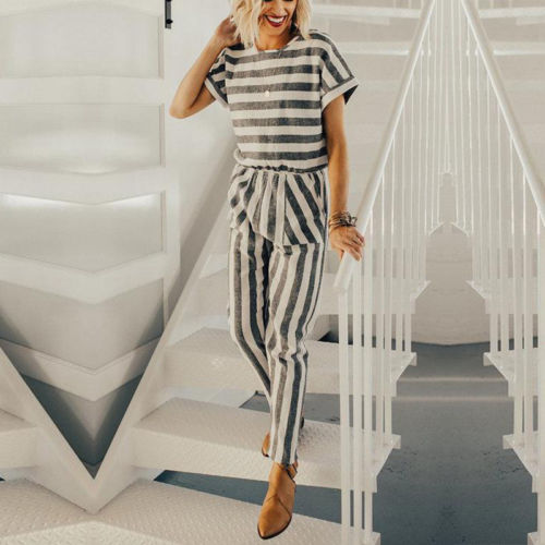 Women Ladies Summer Playsuit Party Jumpsuit Romper Trousers Casual Striped loose pants