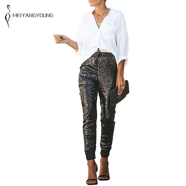833cc47e PU patchwork Sequin Pants Women Casual High Waist Trousers Pencil  Sweatpants Club Wear Party Sparkly Pants