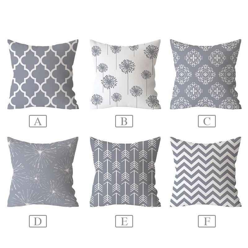 Gray Geometric Printed Pillow Case Cover Square Polyester Pillowcase 45*45cm Decorative Throw Pillow Case Cover For Home
