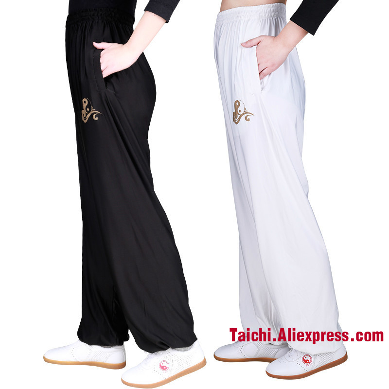 Tai Chi Pants Stretch Kung Fu Trousers Quick Drying Martial Art Clothes Yoga Pants White Black Green Pink And Gray