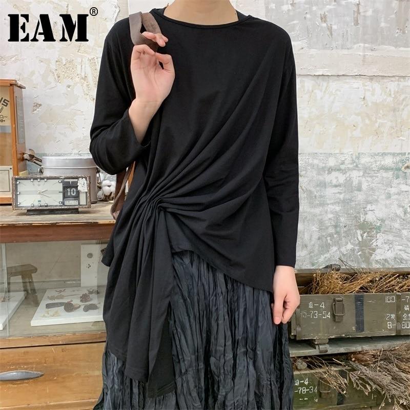 EAM 2019 New Spring Summer Round Neck Long Sleeve Black Irregular Pleated Stitch Loose T