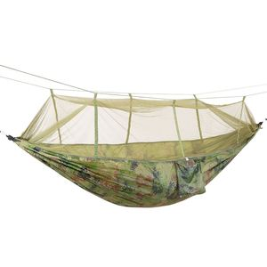 Image 2 - Promotion! Portable Camo High Strength Parachute Fabric Camping Hammock Hanging Bed With Mosquito Net Sleeping Hammock Camo