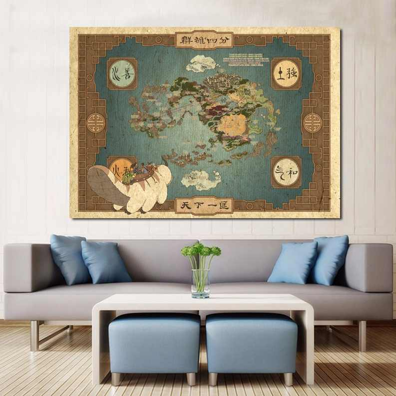 Avatar The Last Airbender World Map Poster Canvas Print Wall ...