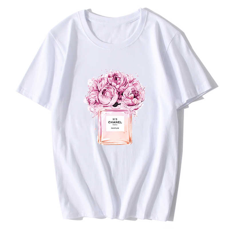 020328fd Flower Perfume T Shirt Vintage Cool Style Harajuku Fashion Summer Tops  Women Ladies O-neck