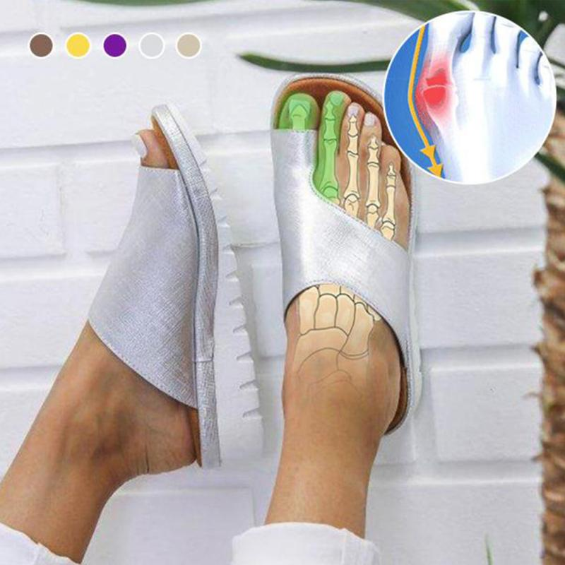 Women PU Leather Foot Shape Correction Platform Sandal Shoes Bunion Corrector Foot Care Pain Relief Casual Summer Sandal big toe sandal