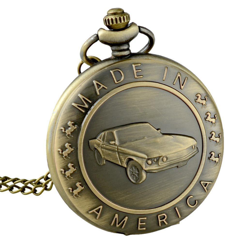 Antique Pocket Watch Bronze Car Theme Full Hunter Quartz Fob Retro Pendant Pocket Watch Chain Gift