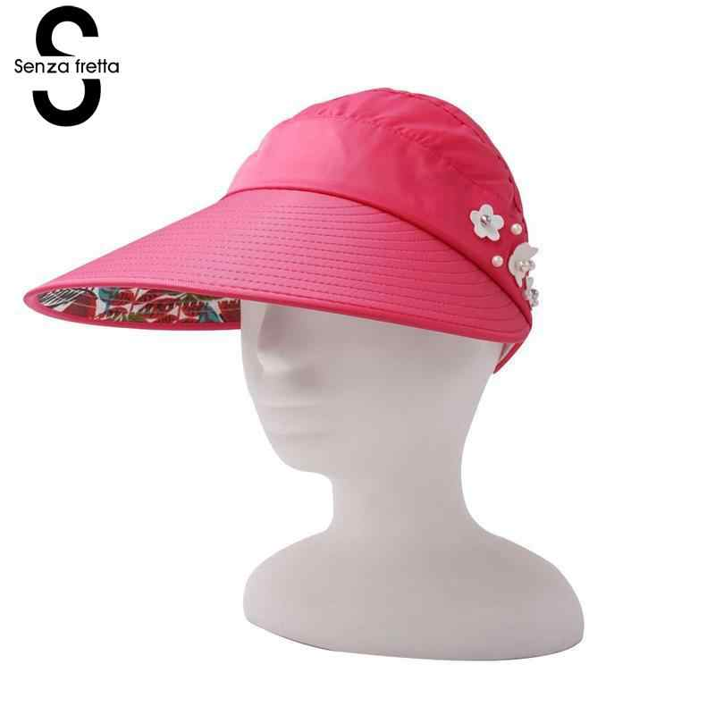3a6efc63ecd Senza Fretta Summer Sun Hats Cool Anti-UV Visors Tennis Golf Beach  Adjustable Women Fashion