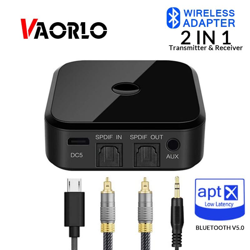 VAORLO APTX HD Wireless Audio Transmitter Receiver Bluetooth 5 0 Wireless  Adapter 3 5mm SPDIF Optical Fiber For Headphone TV PC