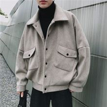 2018 зимние Мужская Мода карман одежда на Хлопчатобумажной Подкладке из смесовой шерсти зимние куртки парки свободные Повседневное кашемировые пальто M-2XL
