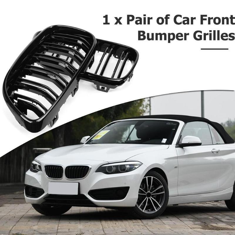 1 par Gloss Black Frente Car Bumper Rim Grill Grelhas para 2 Série F22 F23 F87 M2 Car Styling Auto grades de acessório Para Carros