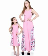Spring and Summer Solid Color Stitching Pink Printed Dress Long  Parent-child Wear
