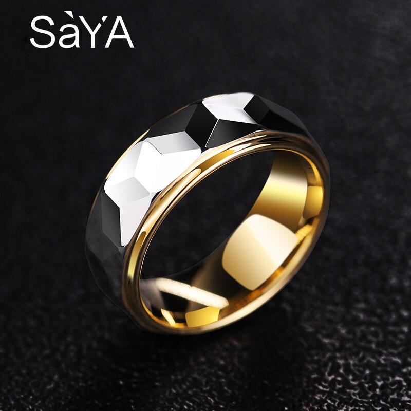 Vente chaude 8mm largeur or couleur placage tungstène anneaux pour homme femme fiançailles prisme conception hommes bande Alianca De Casamento - 3