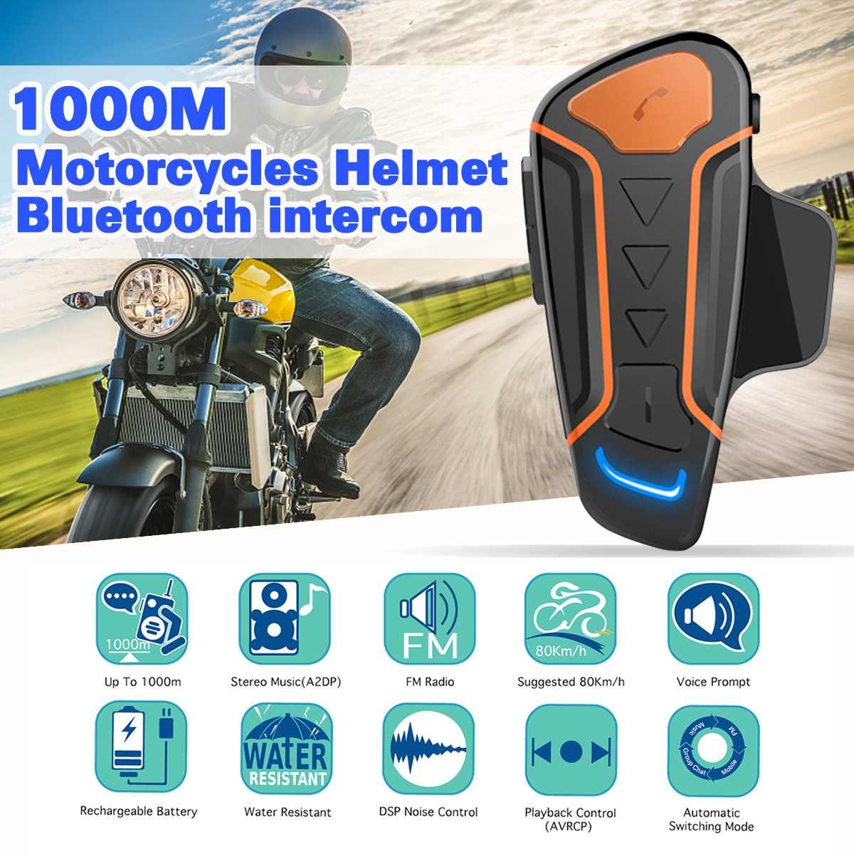 1000M Updated Version WT003 Bluetooth Motorcycle Helmet Intercom Interphone Headset FM Radio+Extra Earphone