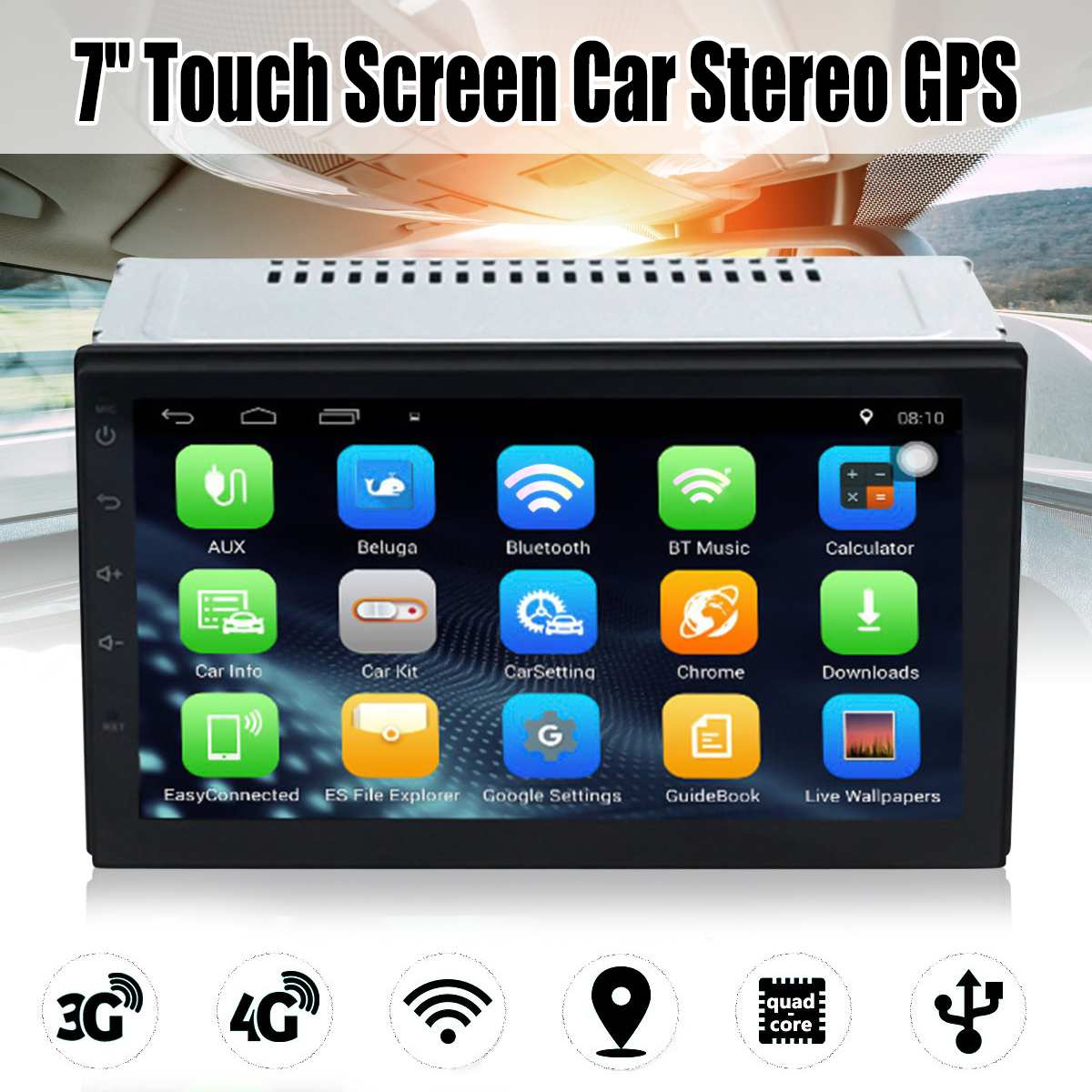 7 Android 6.0 Car Radio Stereo MP5 Quad Core 3G WIFI Double 2DIN Player GPS FM GPS Car Multimedia Player Audio Player7 Android 6.0 Car Radio Stereo MP5 Quad Core 3G WIFI Double 2DIN Player GPS FM GPS Car Multimedia Player Audio Player