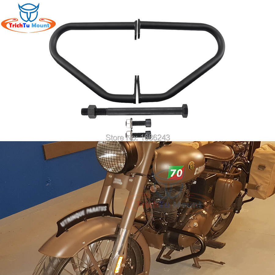 Black Engine Guard Crash Bar Fits For Royal Enfield Classic 500 Stealth Black Pegasus Desert Storm