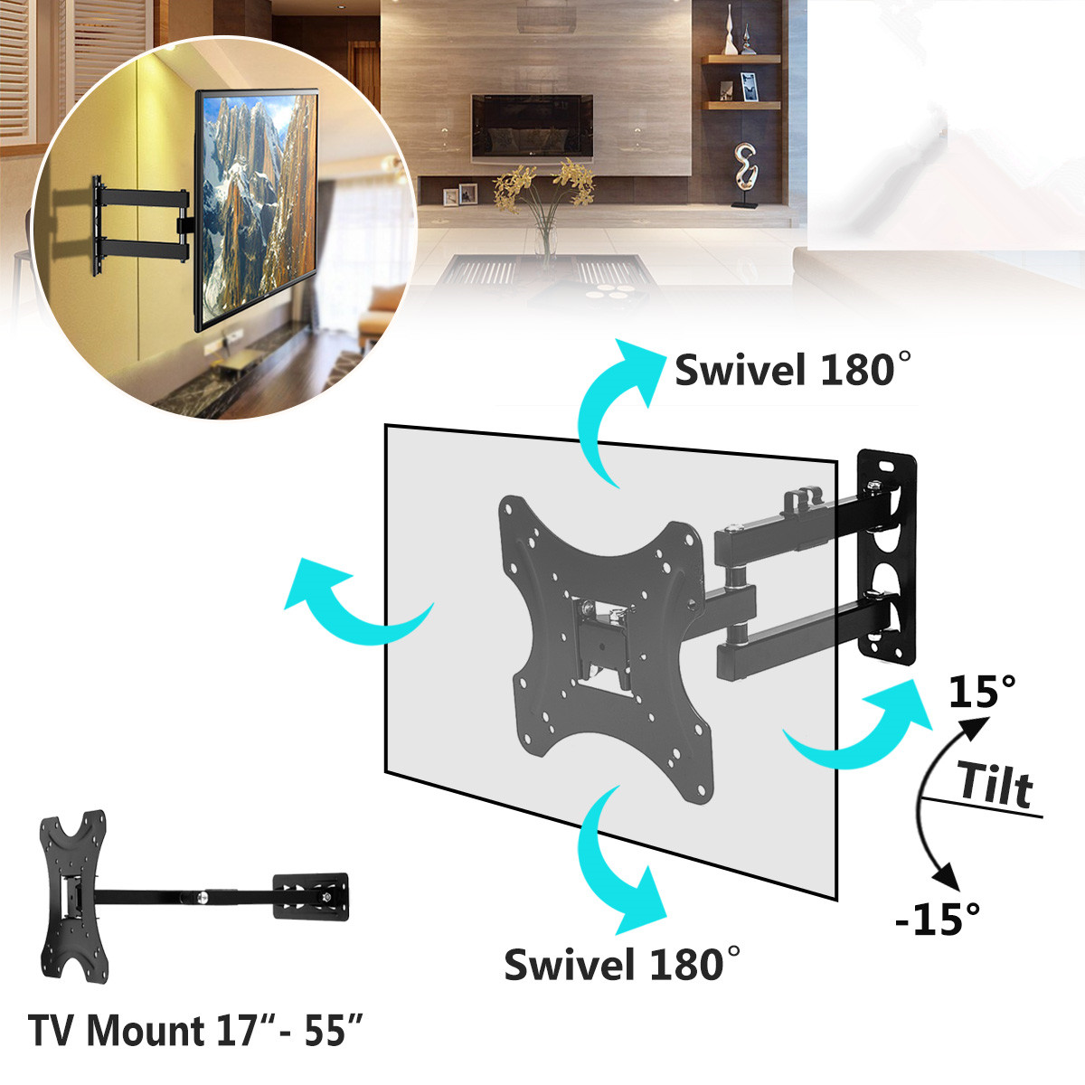 1Pcs Full Motion TV Wall Mount 180Degree Rotate Bracket Supports 17 55Inch LED LCD Flat Screen Universal Telescopic Rack