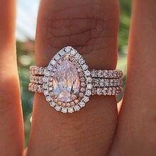 цена на Classic Crystal Heart Pink Diamond Ring Three-layer Female Engagement Amethyst Anillos De Ring Diamante Bizuteria for Women 2019