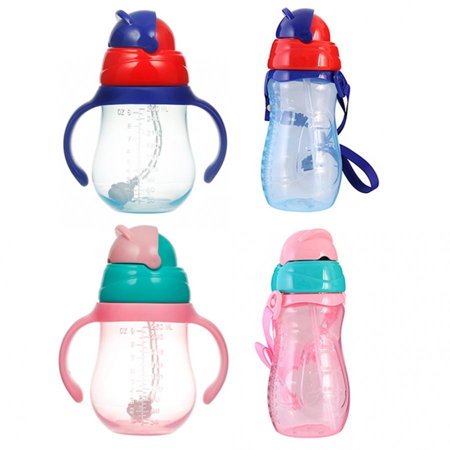 240 330ml Baby Cup Cute Children Learn Drinking Water Straw Handle Bottle Training Drink School Food Milk Bottles