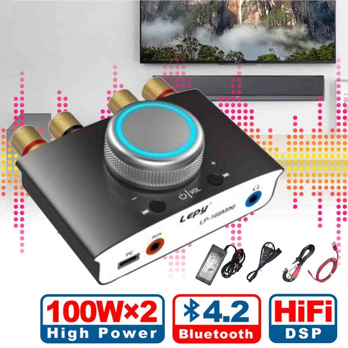 Hifi Stereo Headphone Amp Mini bluetooth 4.2 Tpa3116 Digital Power Amplifier 100w+100w With Adapter Mini Amplifier Class D