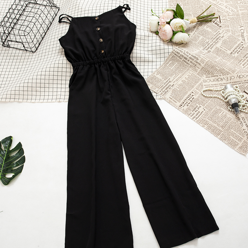 Solid Chiffon High Waist Jumpsuit Women Camisole Wide Leg Pants Female Red Blue Beach Pants Overall Casual Sexy Wear Playsuit 11