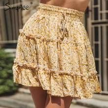 5b19d0e92efda1 Simplee czeski potargane kobiety spódnica elastycznej koronki up panie  wysokiej talii mini spódnica plaży latem nosić na co dzie.
