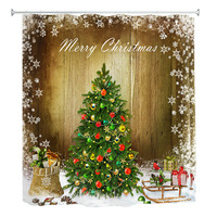 180 X 180cm Christmas Snow Tree Digital Painting Shower Curtain Waterproof Mildew Resistant Fabric Household Merchandises