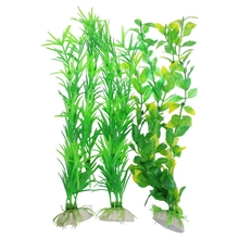 3 Pcs Aquarium Fish Tank Yellow Green Plastic Artificial Plants 13.8 Height